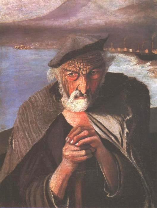 Старый рыбак. Художник Тивадар Костка Чонтвари (1853-1919)