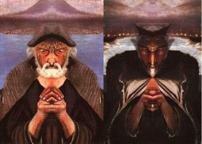 """Зеркальное разделение картины """"Старый рыбак"""""""