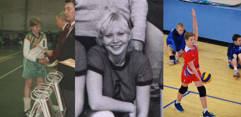 Династия волейболистов. В центре - Цира, слева сын-  Григорий, справа - внук Тимофей