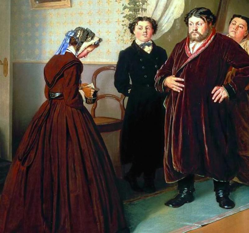 Приезд гувернантки в купеческий дом. Художник Василий Григорьевич Перов (1833-1882)