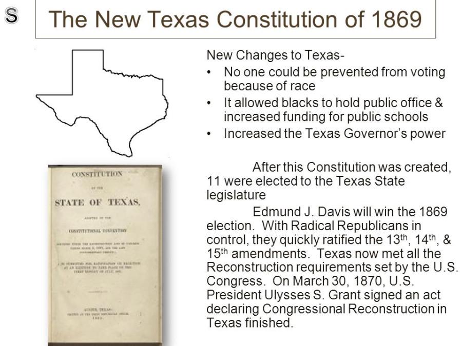texas constitution of 1869