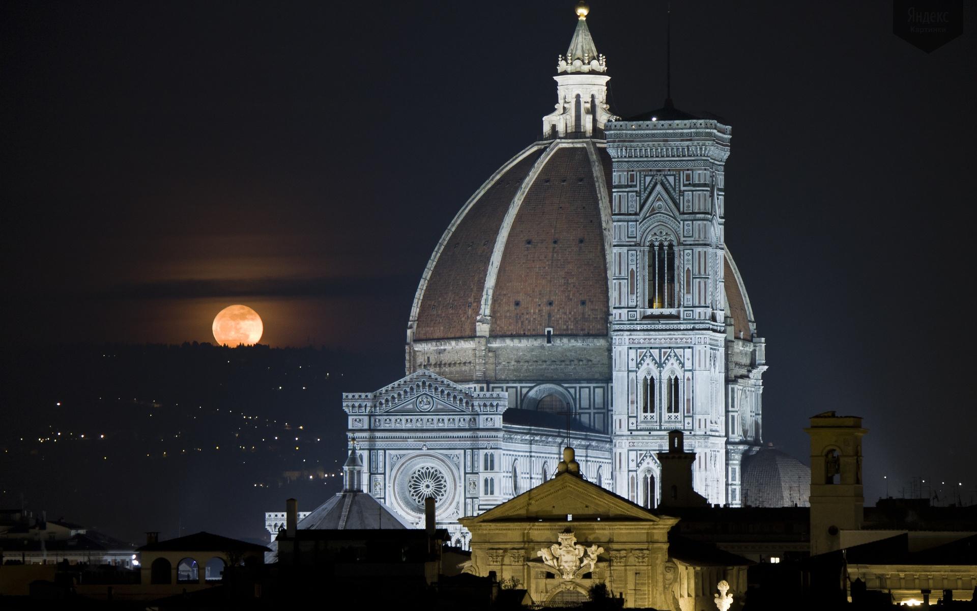 Обои собор санта-мария-дель-фьоре, купол, флоренция, дома, колокольня Джотто. Города foto 15