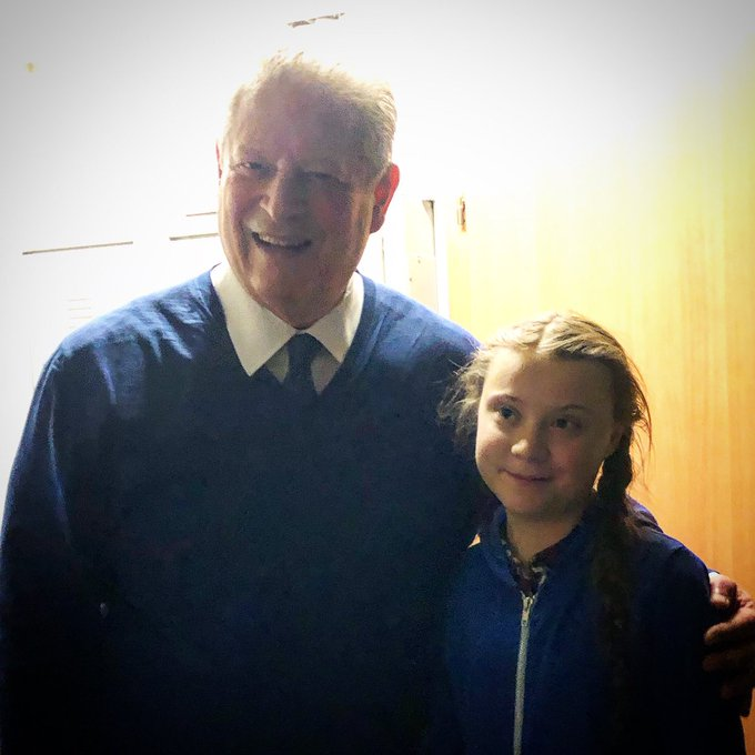 Лауреат Нобелевской премии мира Эл Гор с номинантом премии Гретой Тунберг