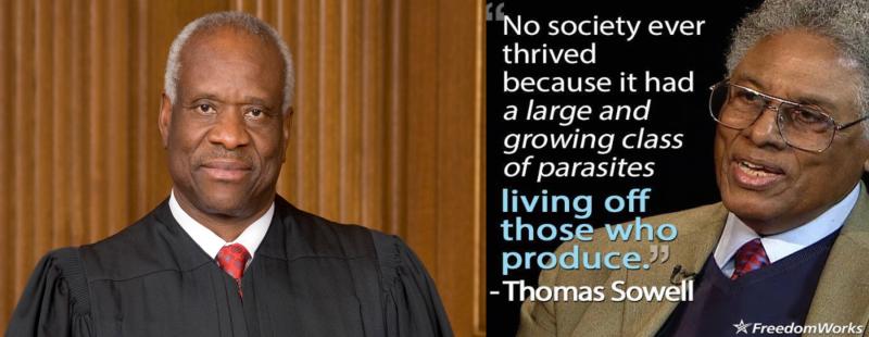 Вот они,  Clarence Thomas и Thomas Sowell, выходцы из бедных черных семей, росшие в условиях сегрегации, но обязанные своими блестящими  карьерами не пигментации кожи, а таланту, трудолюбию, интеллекту.