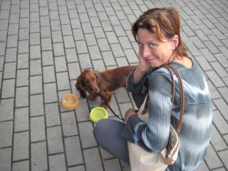 Жена Наталья Земская с собакой Глорией в Киеве - автопробег лето 2008