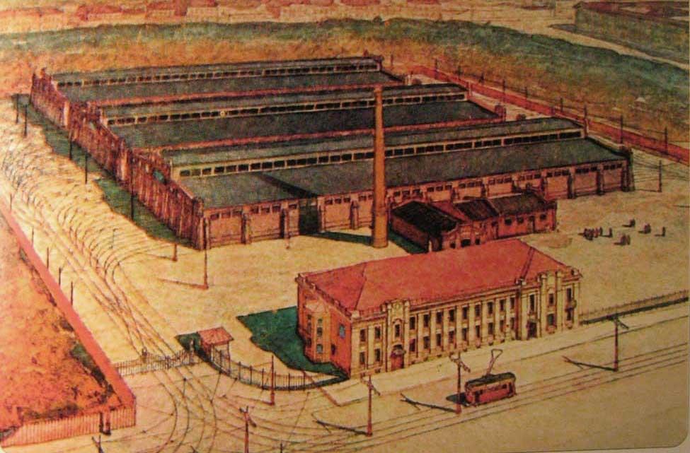 Василеостровский трамвайный парк в 1908 году