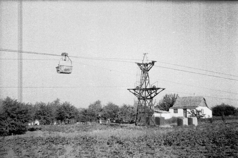 Участок канатной дороги между меловым карьером и цементным заводом. Краматорск, 1952 год.