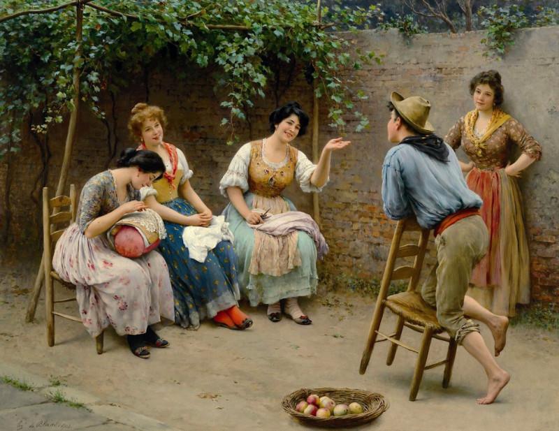 Eugen de Blaas, Plauderei (Болтовня), 1905 https://de.wikipedia.org/wiki/Datei:Eugen_von_Blaas_-_Plauderei_-_1905.jpg