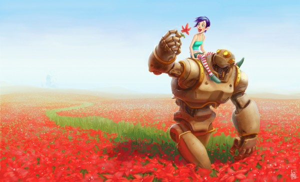 1008x612_3127_Flowerbot_2d_illustration_robot_fantasy_flowers_girl_picture_image_digital_art