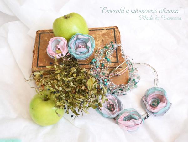 Большой комплект Emerald и шёлковые облака комплект украшений ручной работы