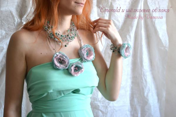 Большой комплект Emerald и шёлковые облака комплект украшений ручной работы_