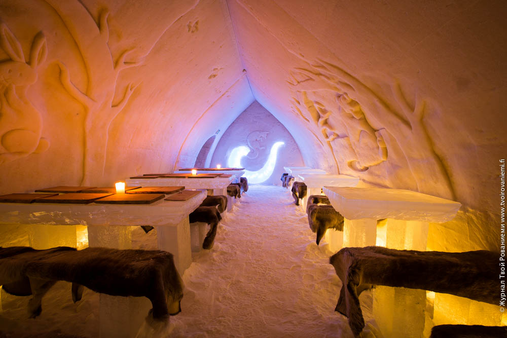 Ресторан в ледяном отеле Арктик Сноу