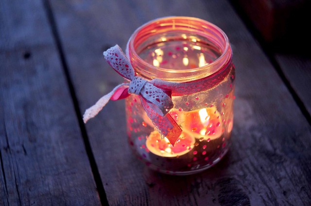 valentine craft ideas: romantic candle with jar