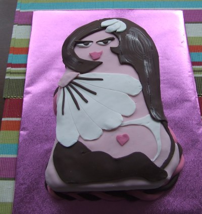 Burlesque damsel cake. Red velvet inside!