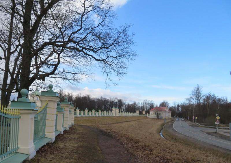 Ограда Нижнего сада со стороны Дворцового проспекта. Хорошо видно, что сад расположен гораздо выше автомобильной дороги. Верхний парк расположен еще выше — на второй террасе.