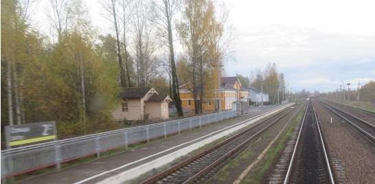 Станция Сольцы из окна поезда, идущего в Питер