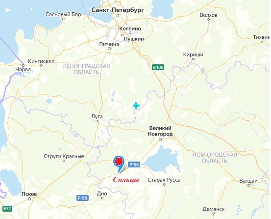 Сольцы на современной карте России