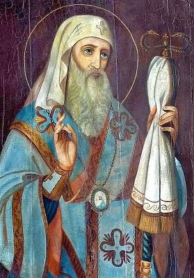 Икона святителя Иона, митрополита Московский и всея России (1448 — 1461(), благославляющего православных двумя перстами.  Икона из церкви Преображения Господня в г. Солигалич.