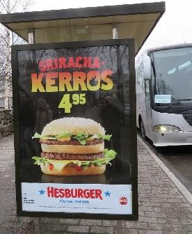 """Реклама на автобусной остановке в Лаппеенранте. Финны считают, что """"Бутерброд сри раша""""  почти за 5 евро -  самое то, чего достойны россияне"""