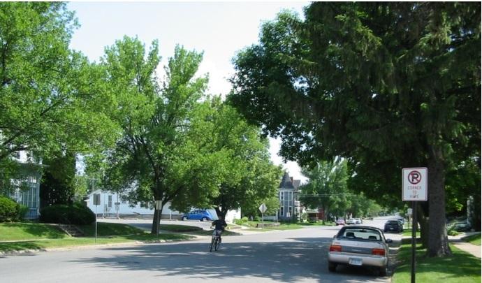 Особняки местных жителей в зелени тихих и сонных окраин агломерации  Вотерлоо — Сидар-Фолс. Ограды и, тем более, высокие заборы - большая редкость.