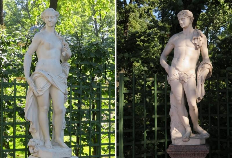 Слева - скульптура Помоны — римской богини фруктовых и ореховых деревьев, супруга Вертумна.  Справа скульптура Антиноя — греческого юноши, фаворита и возлюбленного римского императора Адриана.