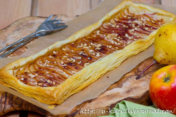 пирог из слоеного теста с грушами рецепт с фото
