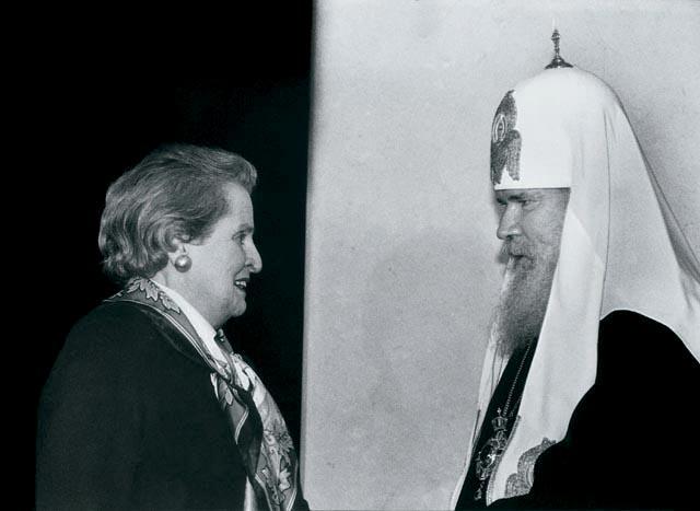 Госсекретарь СШа Олбрайт и патриарх Алексий 2