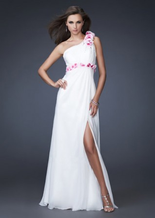 A-line One-shoudler Chiffon Applique Prom Dress