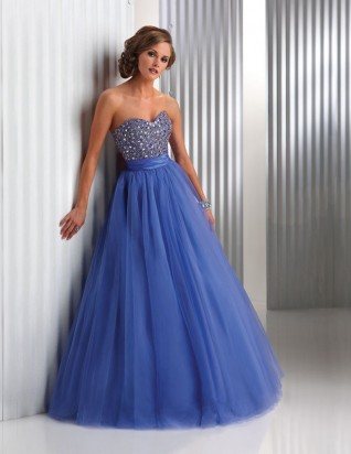 A-line Sweetheart Rhinestone Satin Organza Prom Dress