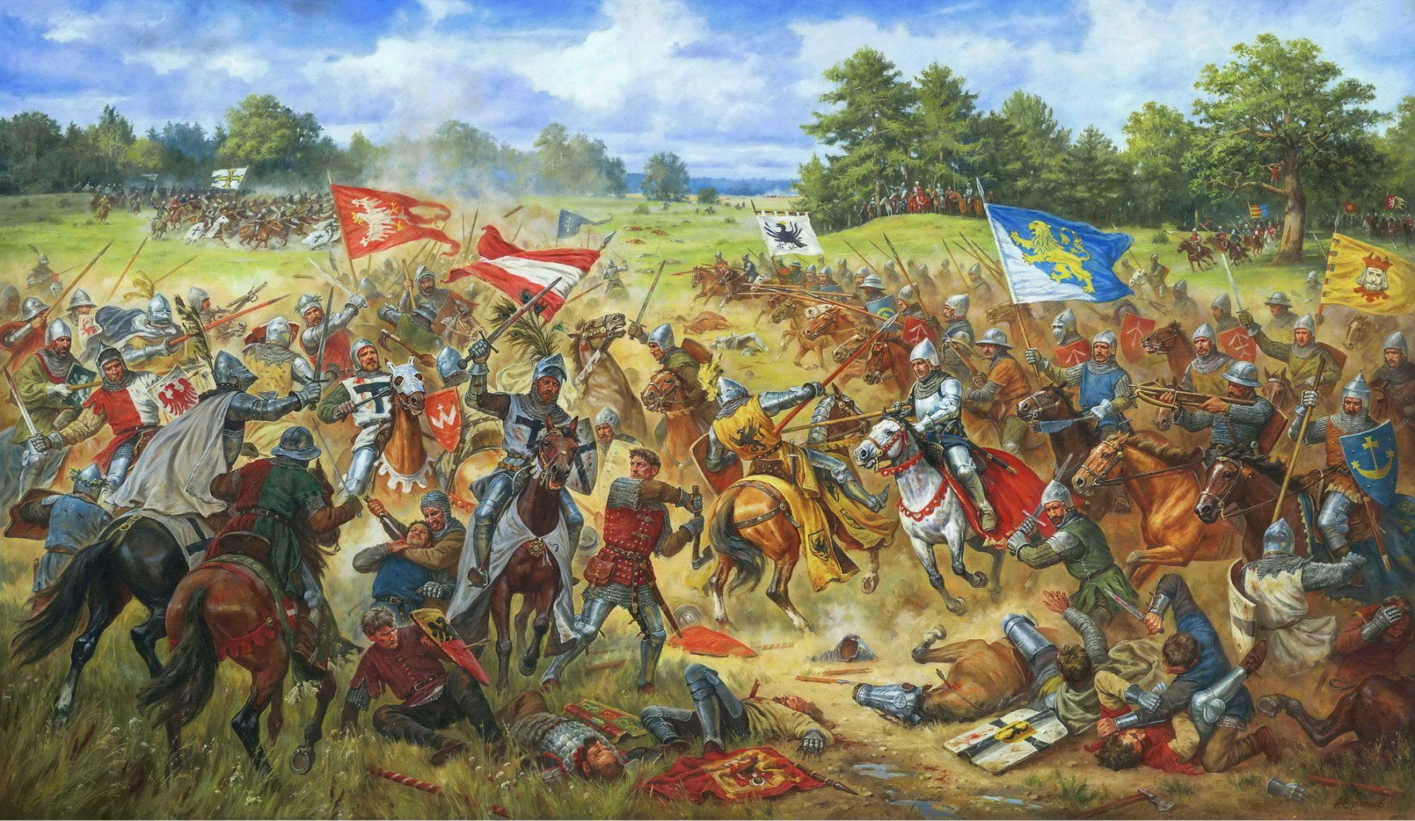 """""""Галицькі хоругви у Грюнвальдській битві 15 липня 1410 року"""", картина Артура Орльонова."""