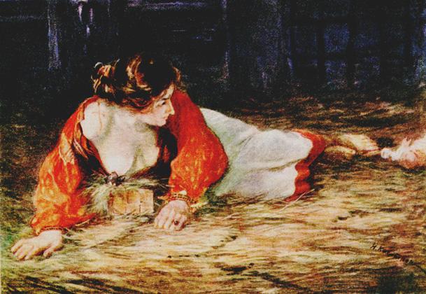 Касаткин Николай. Крепостная актриса в опале, кормящая грудью барского щенка.1928