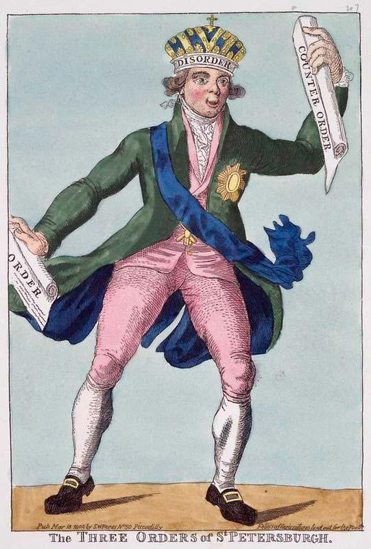 Три приказа из Петербурга (карикатура, 1801, англия)