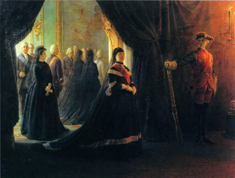 Неврев Николай. Екатерина II у гроба императрицы Елизаветы.