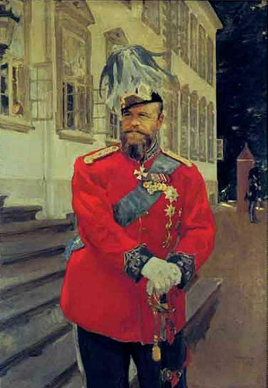 Серов В.А. Император Александр III в форме Датского королевского лейб-гвардии полка на фоне северного фасада замка Фреденсборг. 1899.