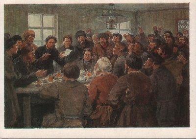 Владимиров Иван. Морозовские ткачи обсуждают требования накануне стачки (1885 год)
