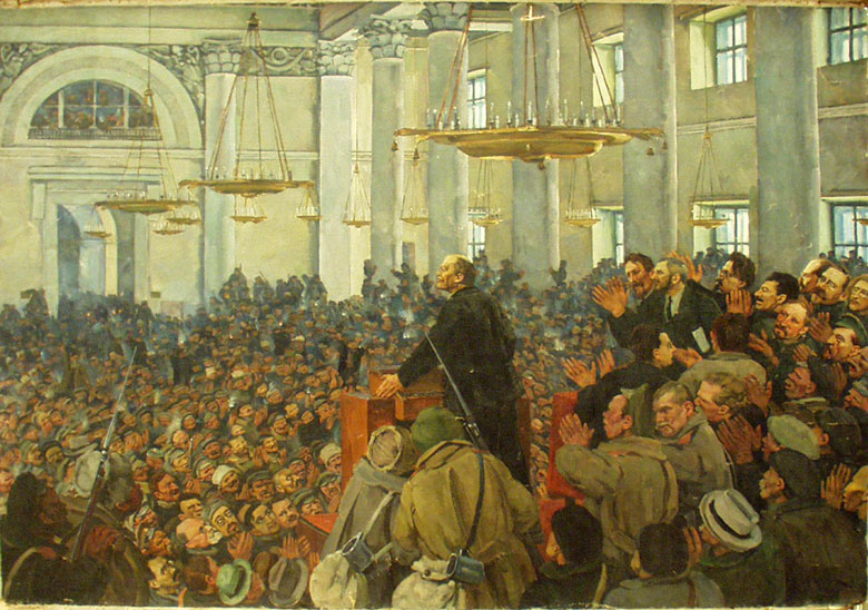 Юон К.Первое появление В.И.Ленина на заседании Петросовета в Смольном 25 октября 1917 . 1927