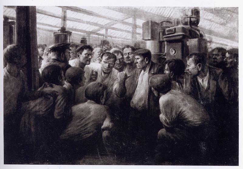 М.Антонов. Разоблачение врага народа в цеху. 1938.