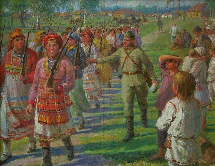 Федот Сычков. Девушки Мордовской Асср изучают военное дело , 1942