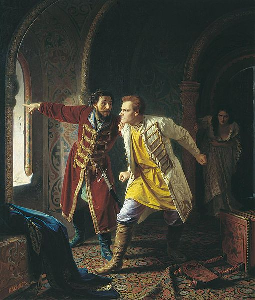 Last minutes of False Dmitriy I by Karl Wenig, painted in 1879.