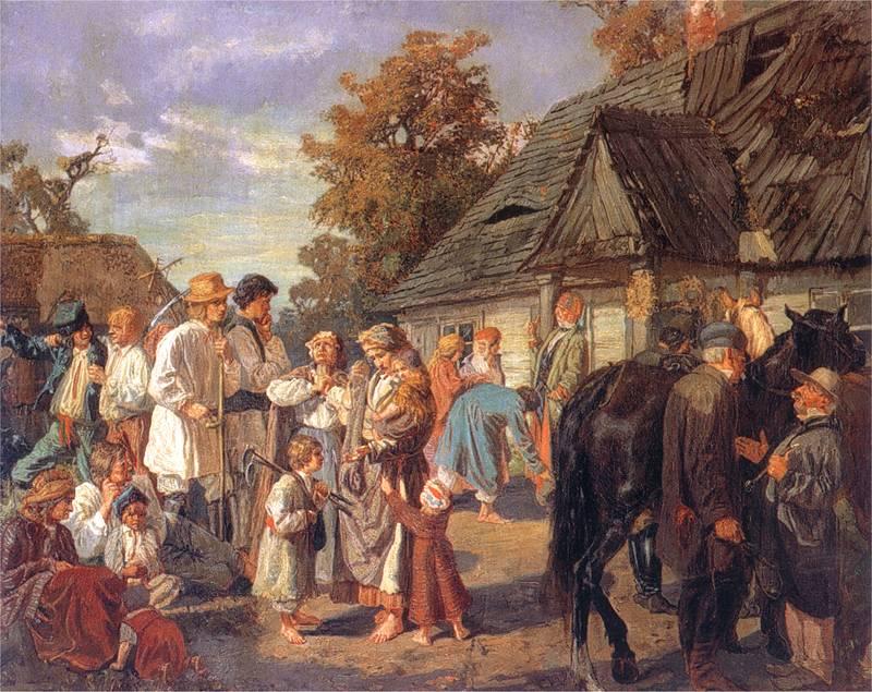 Юзеф Хельмонский. Выдача зарплаты (суббота на фольварке).1869
