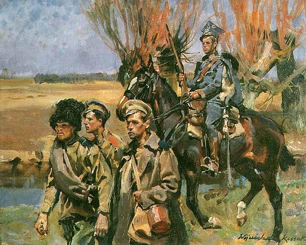 Войцех Коссак. Улан конвоирует русскх пленных. 1916