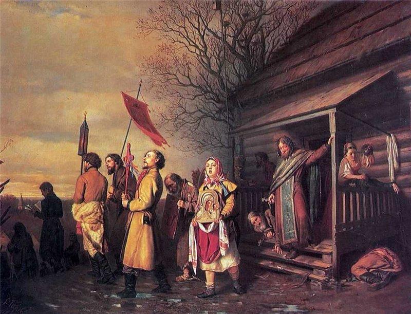 2 Василий Перов. Сельский крестный ход на Пасхе. 1861 г.