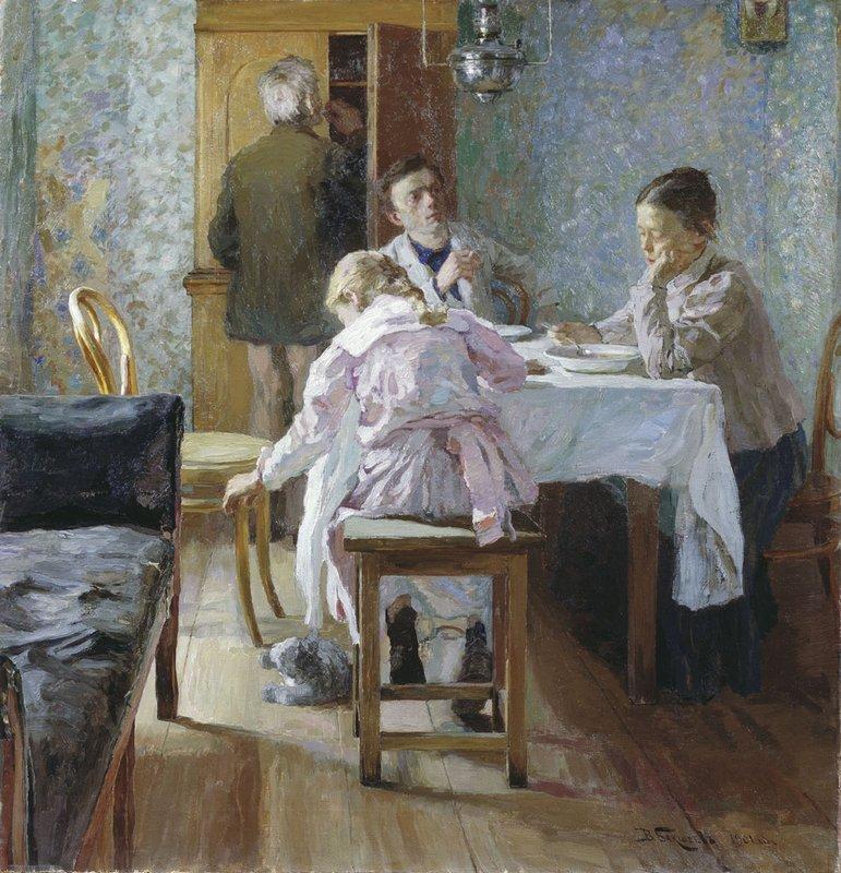 Василий Бакшеев. За обедом. неудачники. 1901