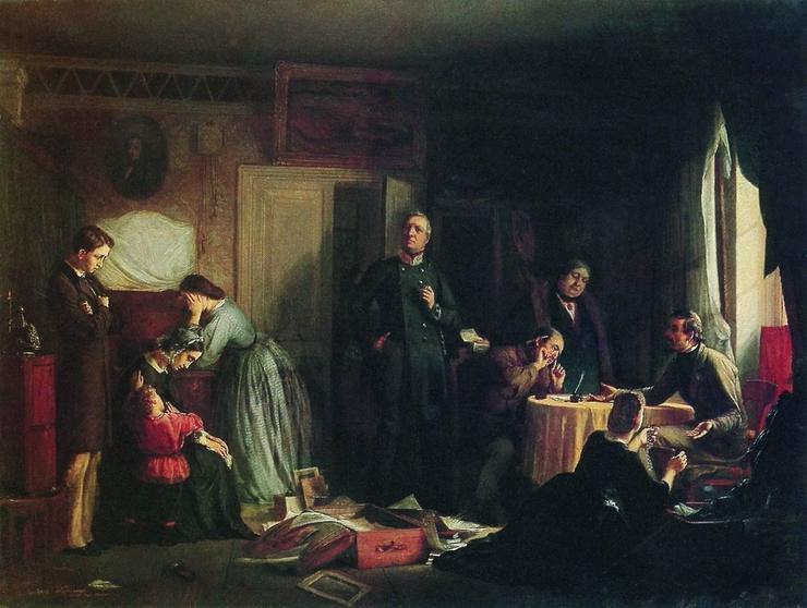Ф. Журавлёв. Кредитор описывает имущество вдовы. 1862