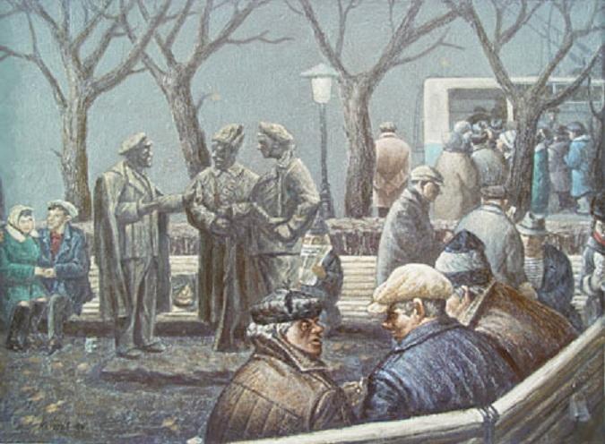 Василий Колотев. Бульварная сцена – 2. 1989 2