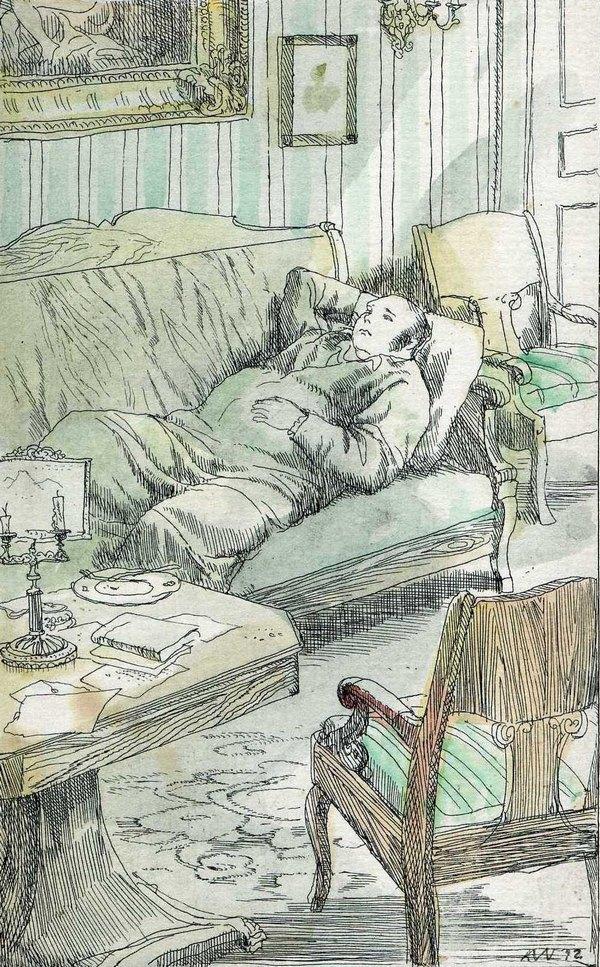 Г. А. Мазурин. Обломов в своем кабинете. 1982 г. УКМ