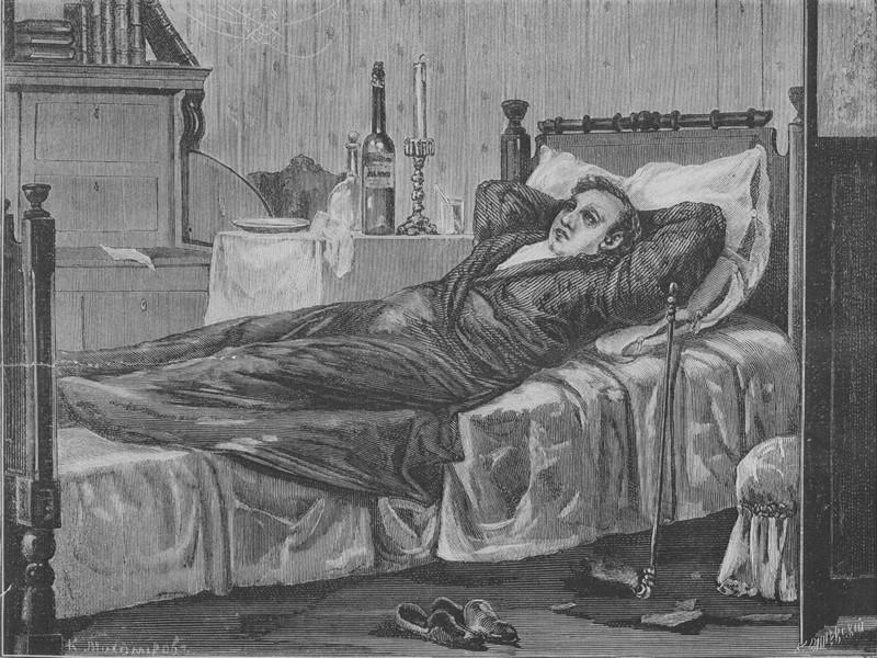 К.Ольшевский с рисунка К.Тихомирова. Обломов. 1883 г
