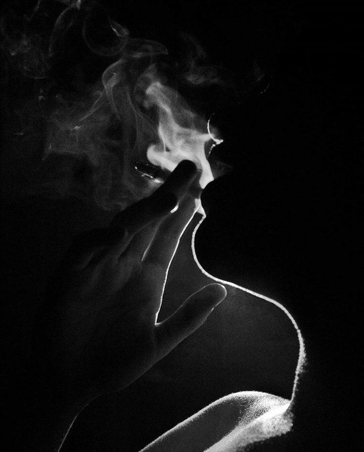 девушка, дым, курение