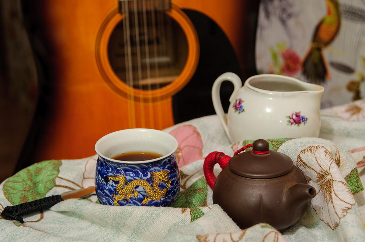 натюрморт, чай, гитара