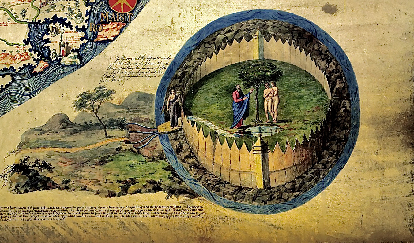 Эдем (Адам и Ева), реки Рая, Херувим. Карта Фра Мауро (fra mauro world map c.1450)